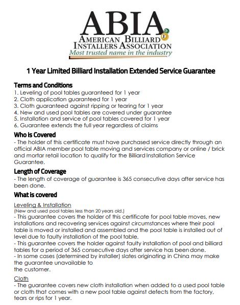 ABIA service guarantee