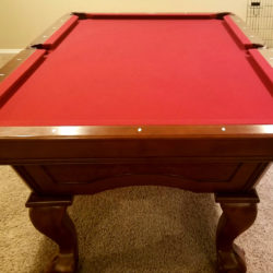 "Brunswick Contender Series 8ft Pool Table with 9 "" leather pockets."