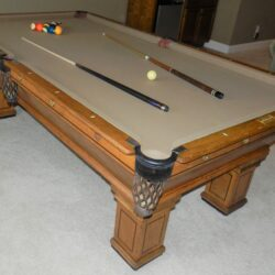 Beautiful VTG 8' Brunswick-Balke-Collender Co Pool Table & Cover - has inlaid mother of pearl on top