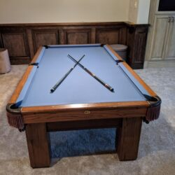 8 ft Atlanta Gandy pool table, recently resurfaced, cues and balls included