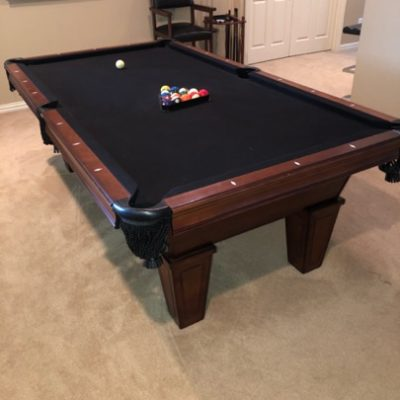 Barely Used 8' Pool Table Black Felt, Bar Chairs, Accessories